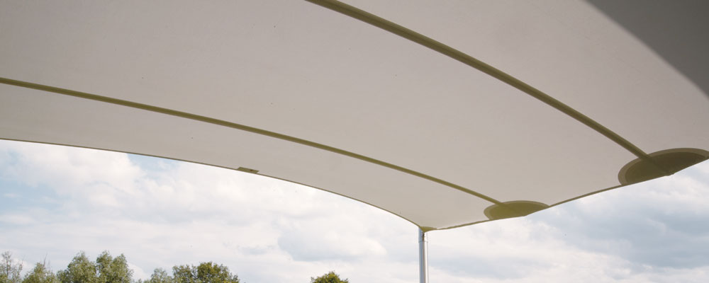 The wind resistant electrically furling shade sail for Wind resistant material
